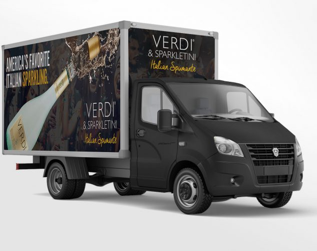 verdi spumante truck wrap vehicle design.