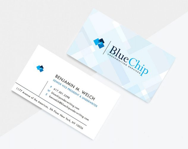 bluechip underwriting business cards.