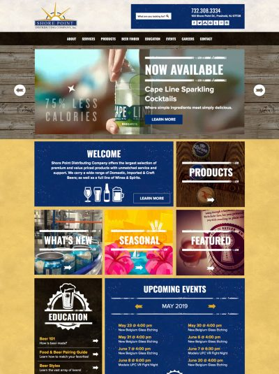 shore point distributing company web design.