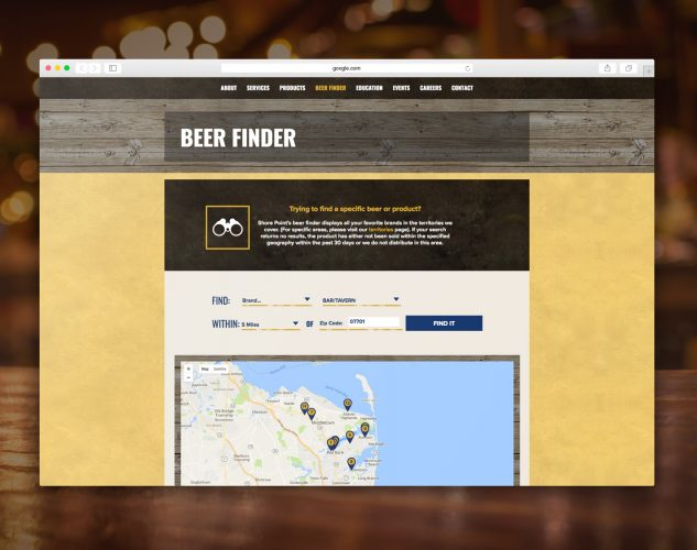 Shorepoint beer finder web tool.